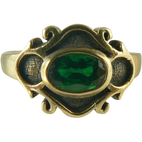 Lovely Green Tourmaline Ring~14k~Size 8.