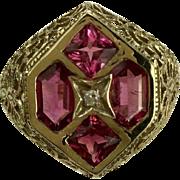 4 Stone Pink Tourmaline & Diamond Ring~14K~Size 8.