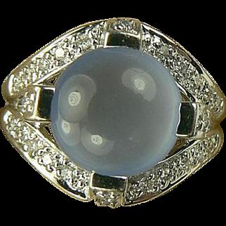SALE 14k Diamond & Blue Chalcedony Ring-Size 6 1/4.
