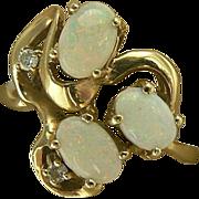 Swirl Opal & Diamond Ring-14k Size 7.