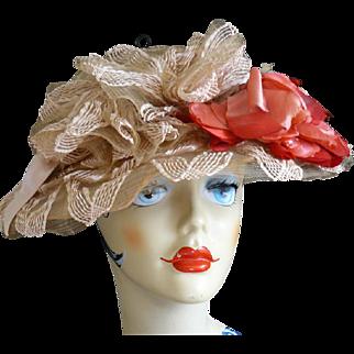 Amazing Antique 1910s Edwardian Ribbon Hat