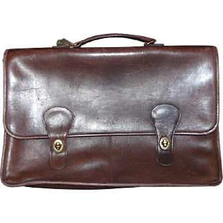 SALE Vintage Coach Attache Briefcase Laptop 6844 Diplomat Brown Made in New York