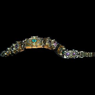 SALE Lovely Vintage 1940s 1950s Box Slide Bracelet Goldtone