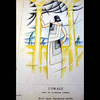 SALE RARE 1920s Art Deco GAZETTE BON TON Pochoir Fashion Print & Mat Vionnet 1923