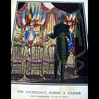 SALE RARE 1920s Art Deco GAZETTE BON TON Pochoir Fashion Print 1923