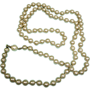 """Vintage Faux Pearl Necklace - Beautiful 29"""" LONG Single Stand - Hand Knotted Pearl Necklace"""