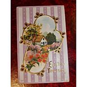 Vintage Embossed Easter Holiday Postcard - Antique Post Card