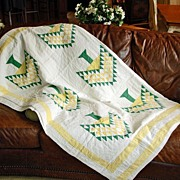 Antique Handmade American Quilt - Centennial Tree or Tree of Paradise