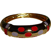 Vintage Gold Tone Enameled Bangle Bracelet