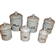 Vintage Graniteware Canister Set - 6 Snow On The Mountain Enamelware Cannisters