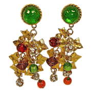 Vintage HUGE Art Glass Earrings - Crystal Rhinestone Dangle Chandelier Earrings