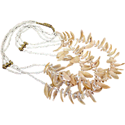 Shell and Seed Bead Necklace - Very Early Brass Findings - 3 Strands