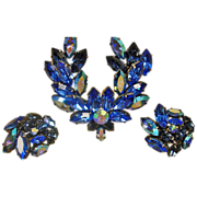Vintage Blue AUSTRIAN Rhinestone Brooch and Earrings Set - Vintage Rhinestone Demi Parure Jewelry