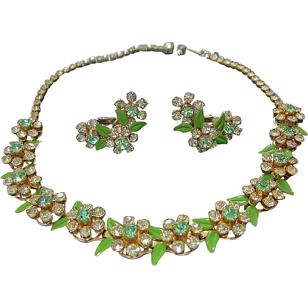 Vintage Rhinestone Necklace and Earrings Fruit Salad Demi Parure Set - Vintage Rhinestone Jewelry