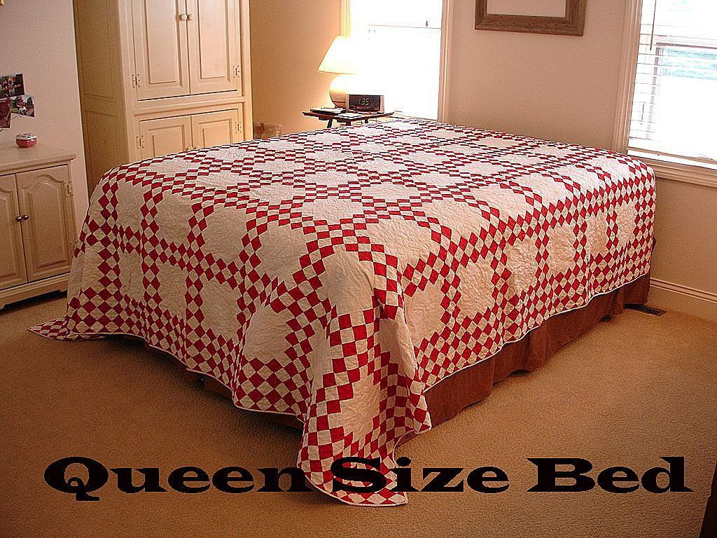 HUGE Antique Turkey Red and White  Irish Chain QUILT