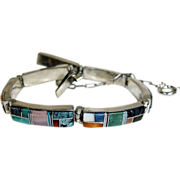 Estate Sterling Silver Multi Stone Inlaid Bracelet