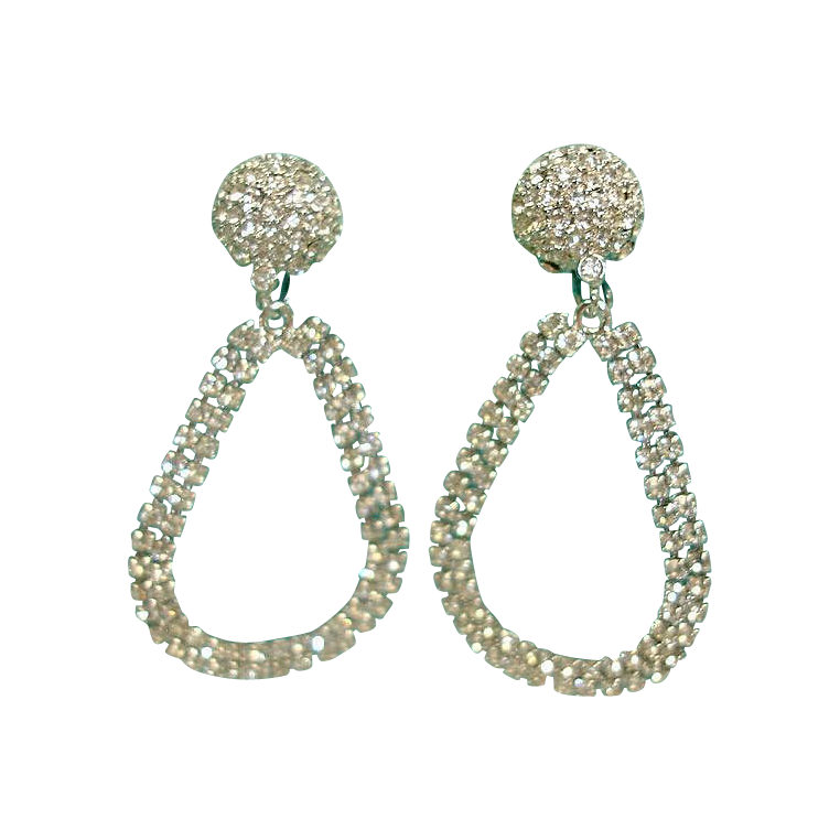 Vintage LES BERNARD Rhinestone Earrings -  DYNASTY Collection Dangle Drop Hoop Earrings