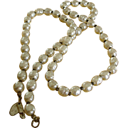 """Vintage Miriam Haskell Glass Baroque Pearl Necklace – 25"""" Long"""
