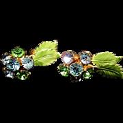 Vintage HOBE Rhinestone & Enameled Green Leaf Earrings - Blue and Green Earrings