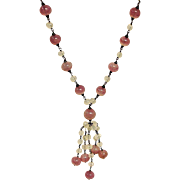 Vintage Pink Opaque Venetian Glass Necklace