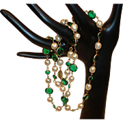 """Vintage Miriam Haskell Necklace - Glass Baroque Pearls and Green Cut Glass 28"""" Necklace"""
