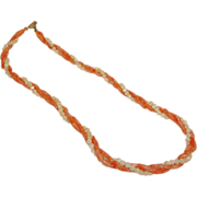 Vintage Signed HOBE Coral and White Necklace - Beaded Torsade - Hobe Jewelry