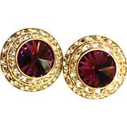 Vintage Purple Rivoli Rhinestone Clip On Earrings
