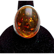 Vintage Silver Tone Amber Cabochon Ring – Size 8