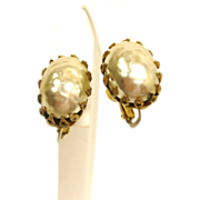 Vintage Miriam Haskell Baroque Glass Pearl Earrings - HASKELL Faux Baroque Mabe Pearl Jewelry