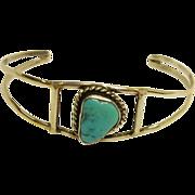 Vintage  Southwestern Silver & Turquoise Child's Cuff Bracelet