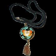 Vintage HOBE Round Enamel Guilloche Pendant and Black Corded Necklace - Butterfly Cloisonne Pendant Necklace