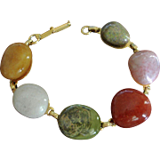 Vintage Polished Gem Stones Bracelet - Agate and Carnelian