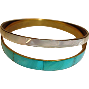 Vintage Bangle Bracelets - 2 Bracelets - Mother of Pearl Bracelets - MOP Bracelets