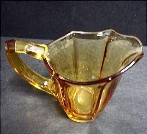 Vintage Deep Yellow Glass Creamer - Amber Glass Creamer