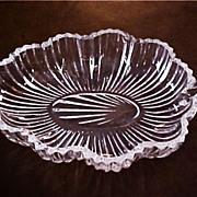 Vintage Patterned Pressed Glass Leaf Dish