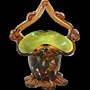 Vintage Murano Basket - Spatterware Amber Cased Glass Basket - Mid Century Modern Glass