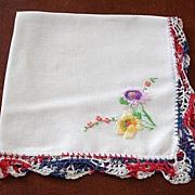 Vintage Red White and Blue Crochet Edge Hankie Handkerchief