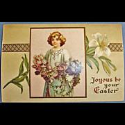 Vintage Embossed Easter Holiday Greetings Postcard - Antique Post Card