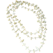 """Vintage Necklace - Long 54"""" - White Bead and FAUX Mother of Pearl"""