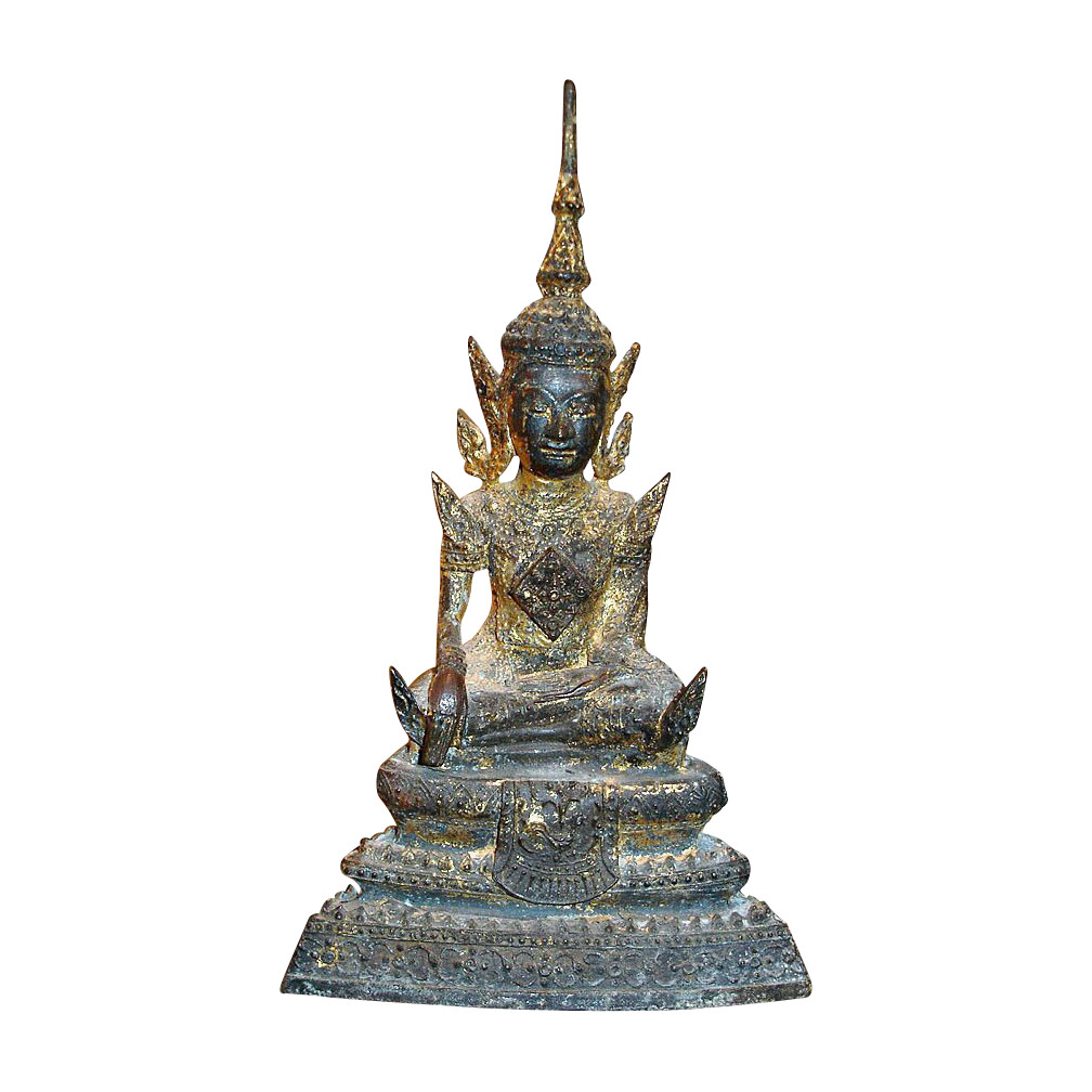Antique Sitting Infinite Wisdom Buddha Statue with Gold Gilt Wash
