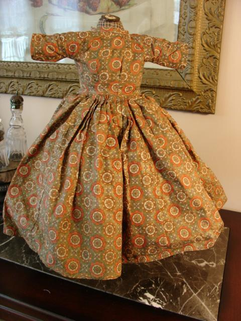 Early Antique Glazed Cotton Calico Dress