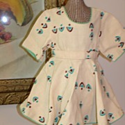 Fabulous Vintage Linen Geometric Print Dress