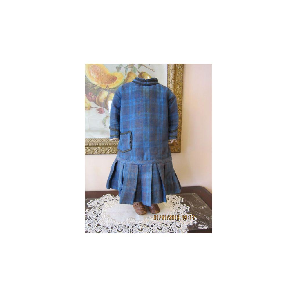 Wonderful Civil War Era Girl's Blue/Black Plaid Dress