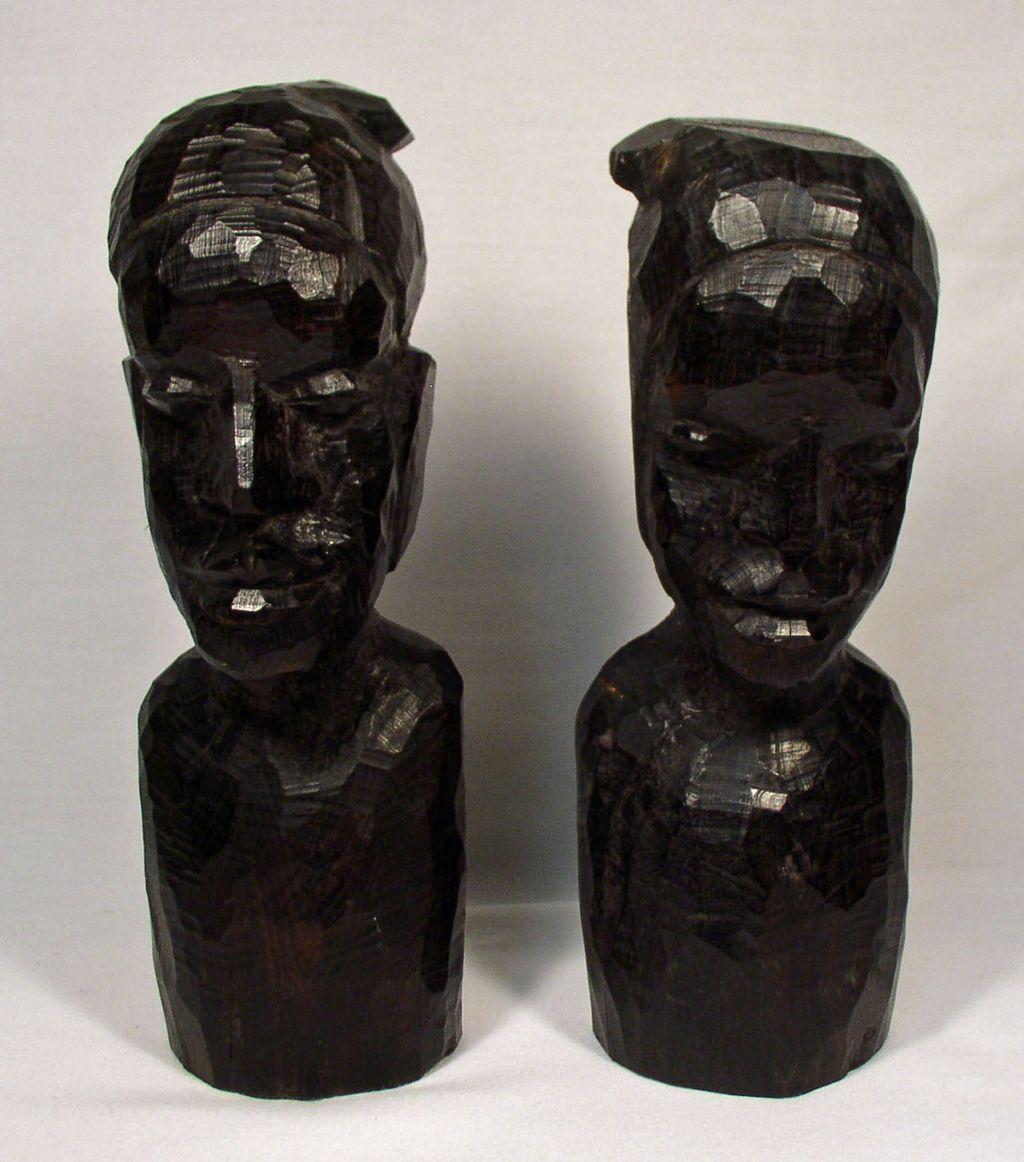 African Ebony Wood Art Busts, Faces, Sculptures