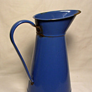 French Enamelware Blue Water Pitcher / Jug