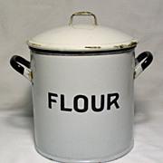 Vintage Enamelware English Flour Bin - 1920's - 1930's
