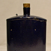Enamel Military Issue Cobalt Blue Water Bottle / Flask - 1940's