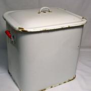 Enamel Bread Bin / Flour Bin / Grain Bin - White with Red Handles