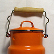 Orange Enamel Ware Milk Jug Can with Lid - Made in Poland