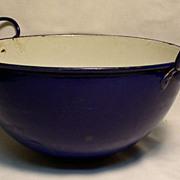 Cobalt Blue Enamel Bowl with Handles / Wok Style - Lion Stamp
